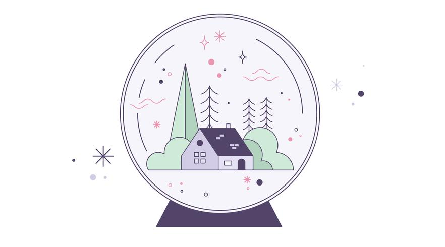 Snow Globe House Vector