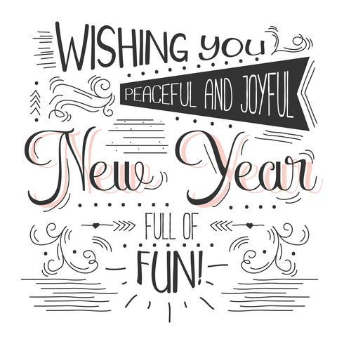 Fondo de Vector de tipografía de año nuevo