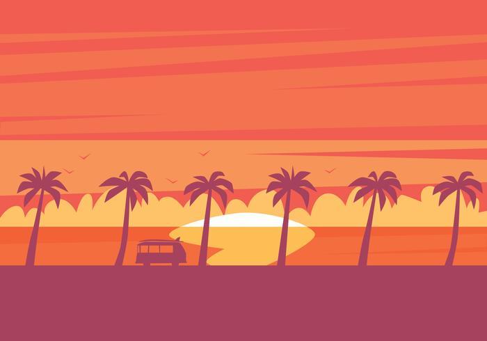 Beach Sunset Illustration