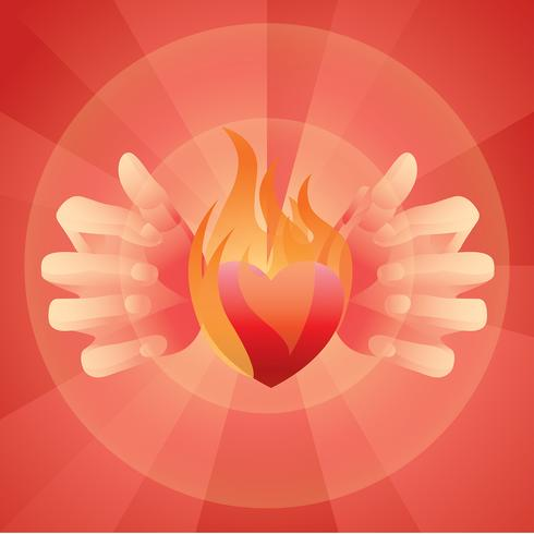 Flaming Heart Free Vector