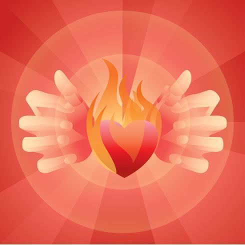 Vetor livre de coração flamejante
