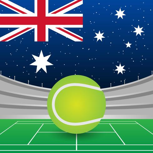 Australia Flag On Stadium Background During Tennis Match Illustration - Download Free Vector Art, Stock Graphics & Images