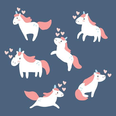 Set av enhörningar i kärlek