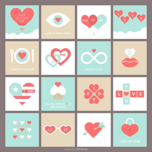 Vector Valentine Cards With Heart Design Concepts