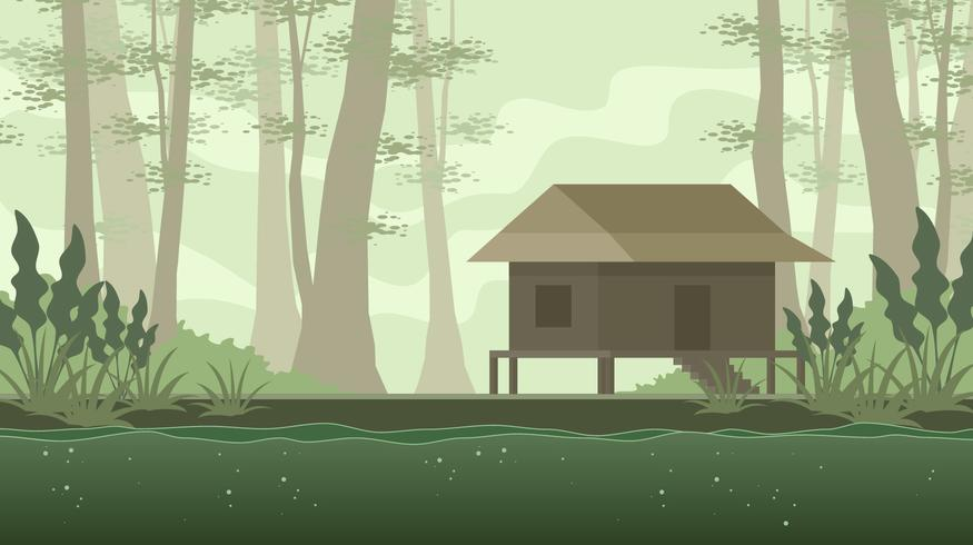 Old House In The Bayou Free Vector