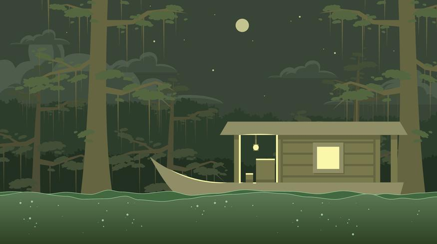 Wooden Boat Trough The Bayou Vector