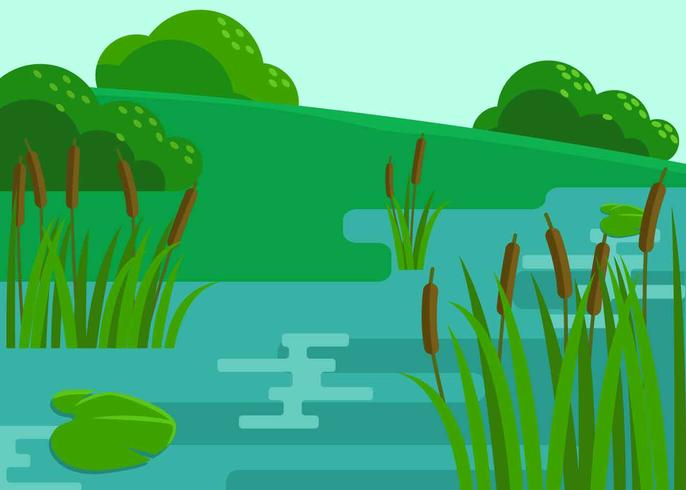 Marsh Scene Illustration Vector