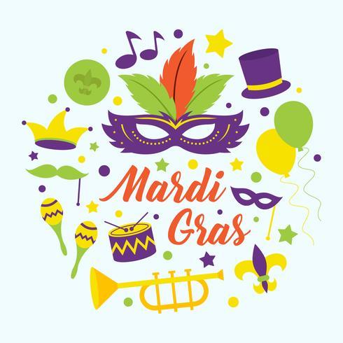 Mardi Gras Parade Vector Illustration