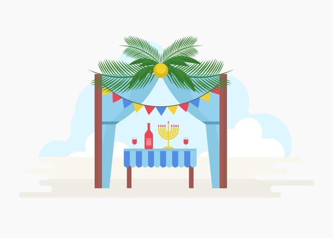 Free Decorative Sukkah Vector Illustration