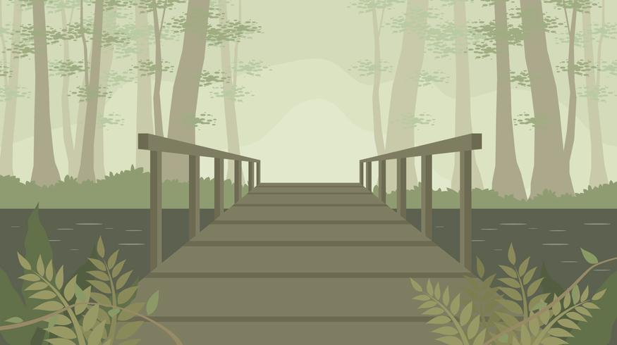 Old Wooden Bridge In The Bayou Free Vector
