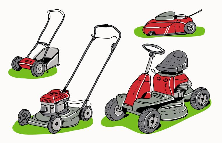 Red Lawn Mower Collection Hand getrokken vectorillustratie