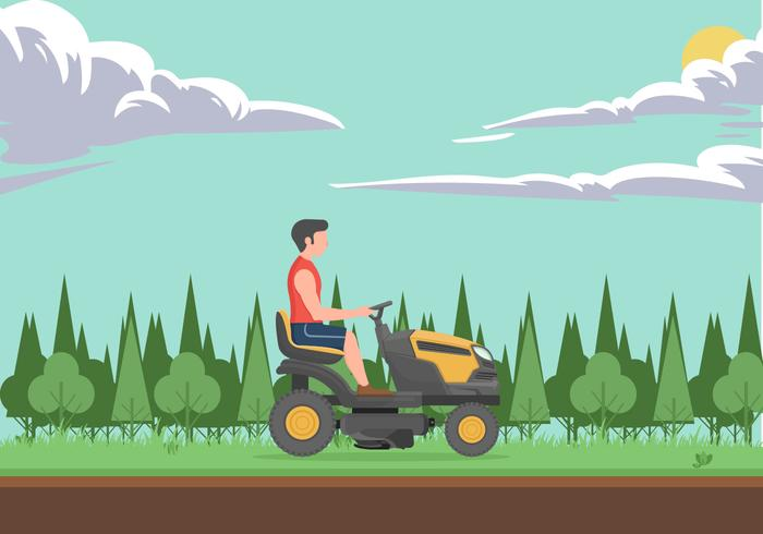 Man With Lawn Mower Illustration Vector Concept
