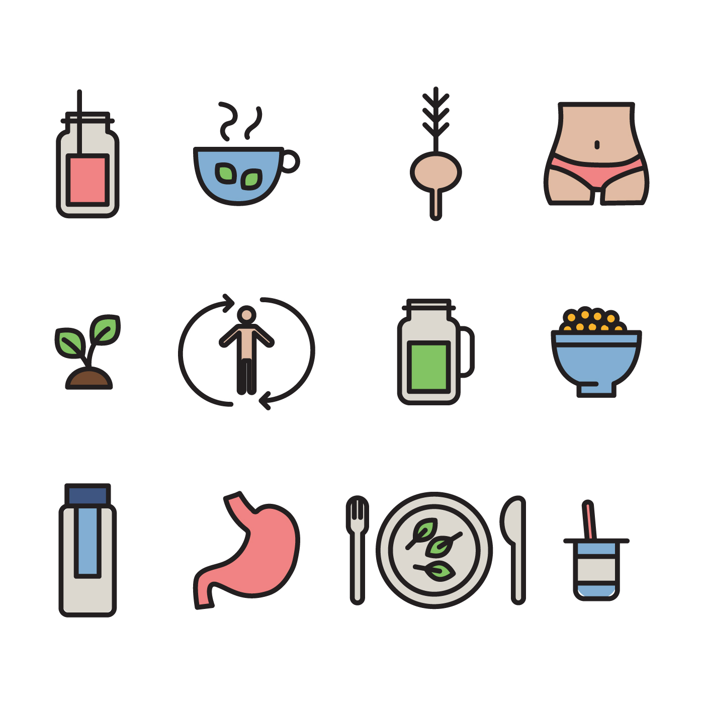 outlined detox icons download free vector art stock