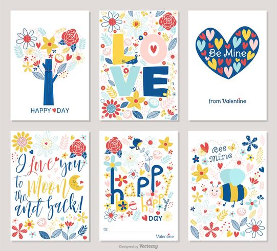 Valentine Cards With Colorful Hand Drawn Flowers