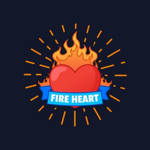 vlammende hart vector