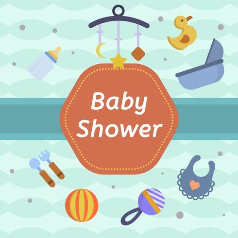 Platte babydouche vectorillustratie