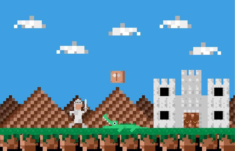 Video Game Held Vintage landschap vectorillustratie