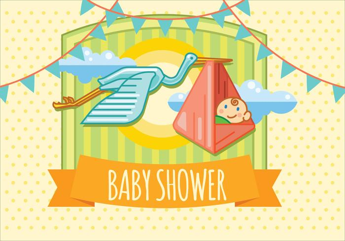 Baby Shower Flying in the Sky with Bird. Vector Invitation Card Design