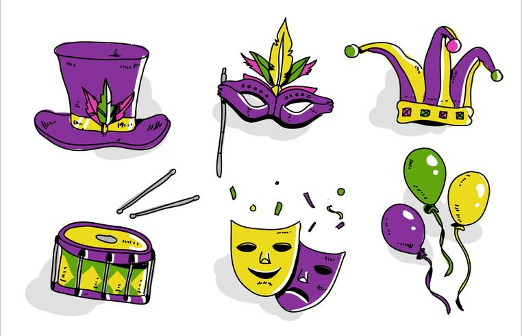 Mardi Gras Parade Set Hand Drawn Vector Illustration