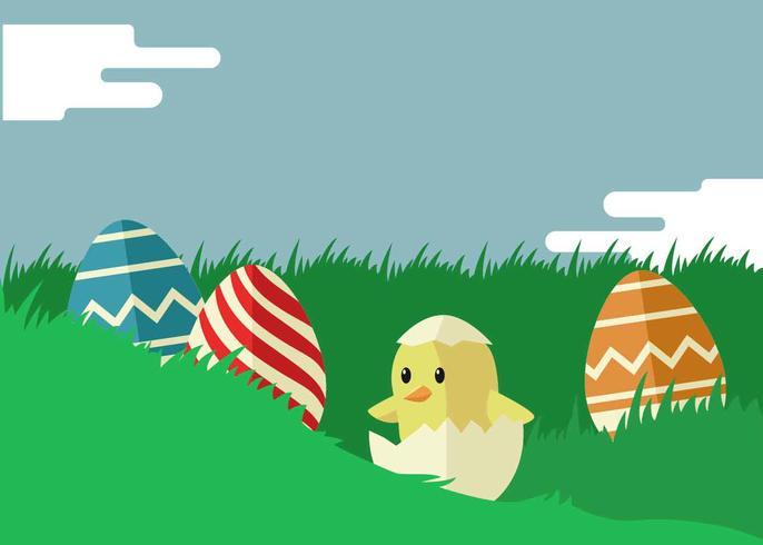 Easter Illustration In Flat Color