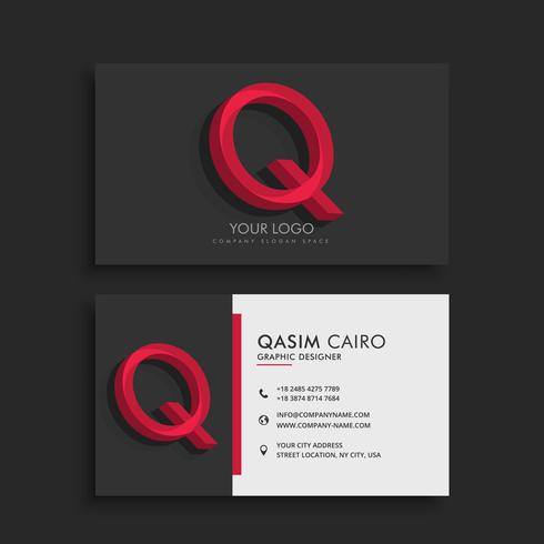 clean dark business card with letter Q