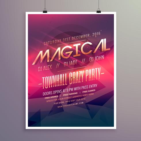 party flyer invitation template with purple color theme