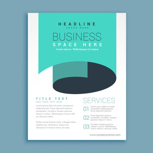 minimal A4 brochure flyer design with blue paper curl