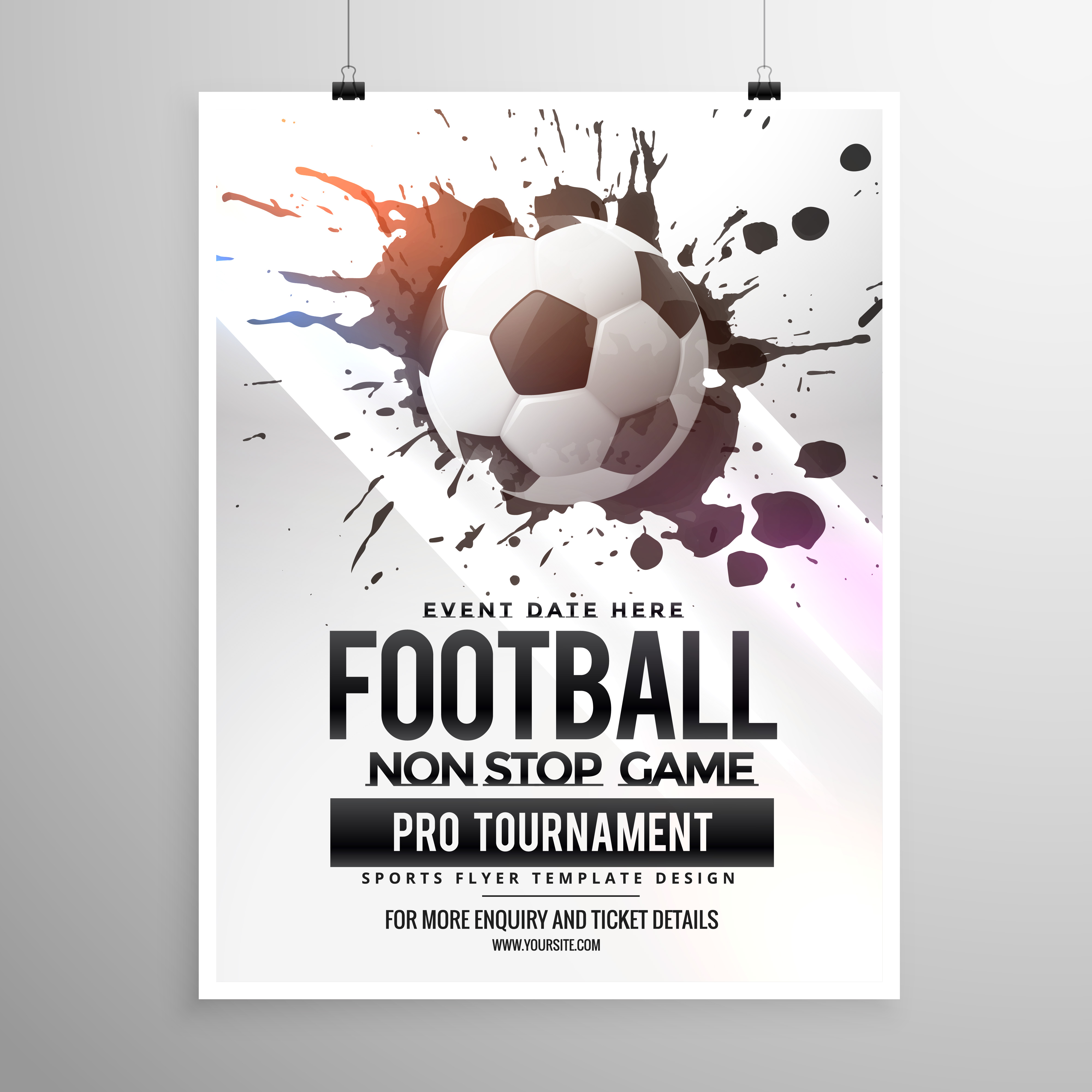 Football Soccer Game Tournament Flyer Brochure Template Download