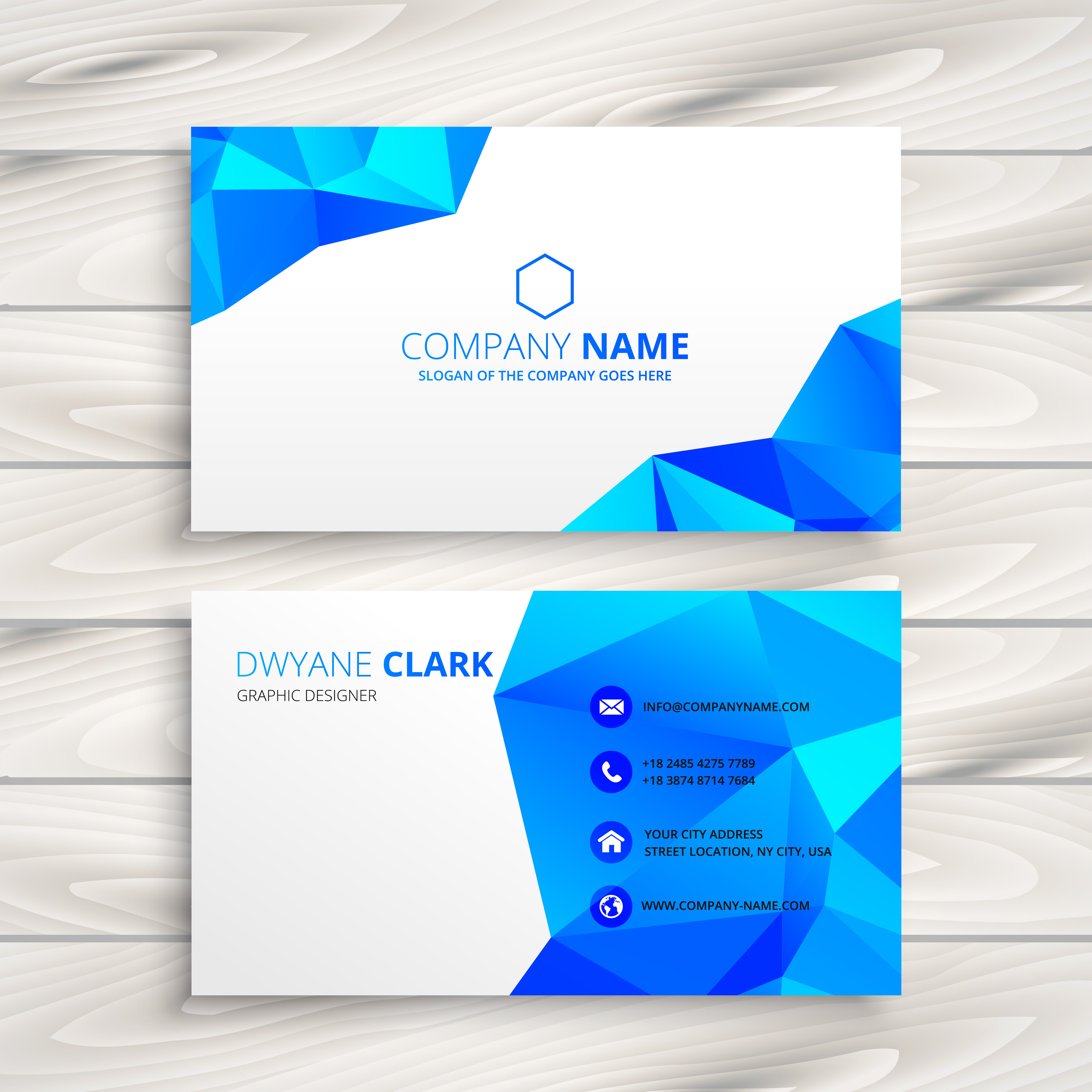 Blue Corporate Stationary Pack By Betty Design: Blue Polygonal Business Card Template Vector Design