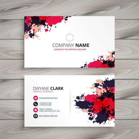 abstract grunge ink splash business card template vector design