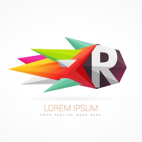 colorful abstract logo with letter R