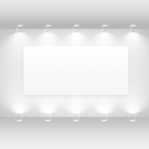 galleri interiör med tom ram och ljus
