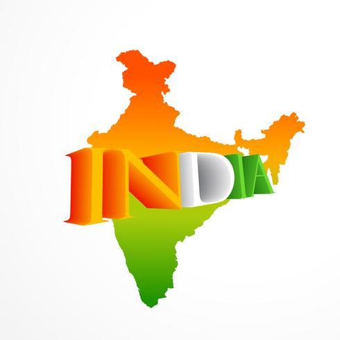 mapa indiano na ilustração de design de vetor tricolor