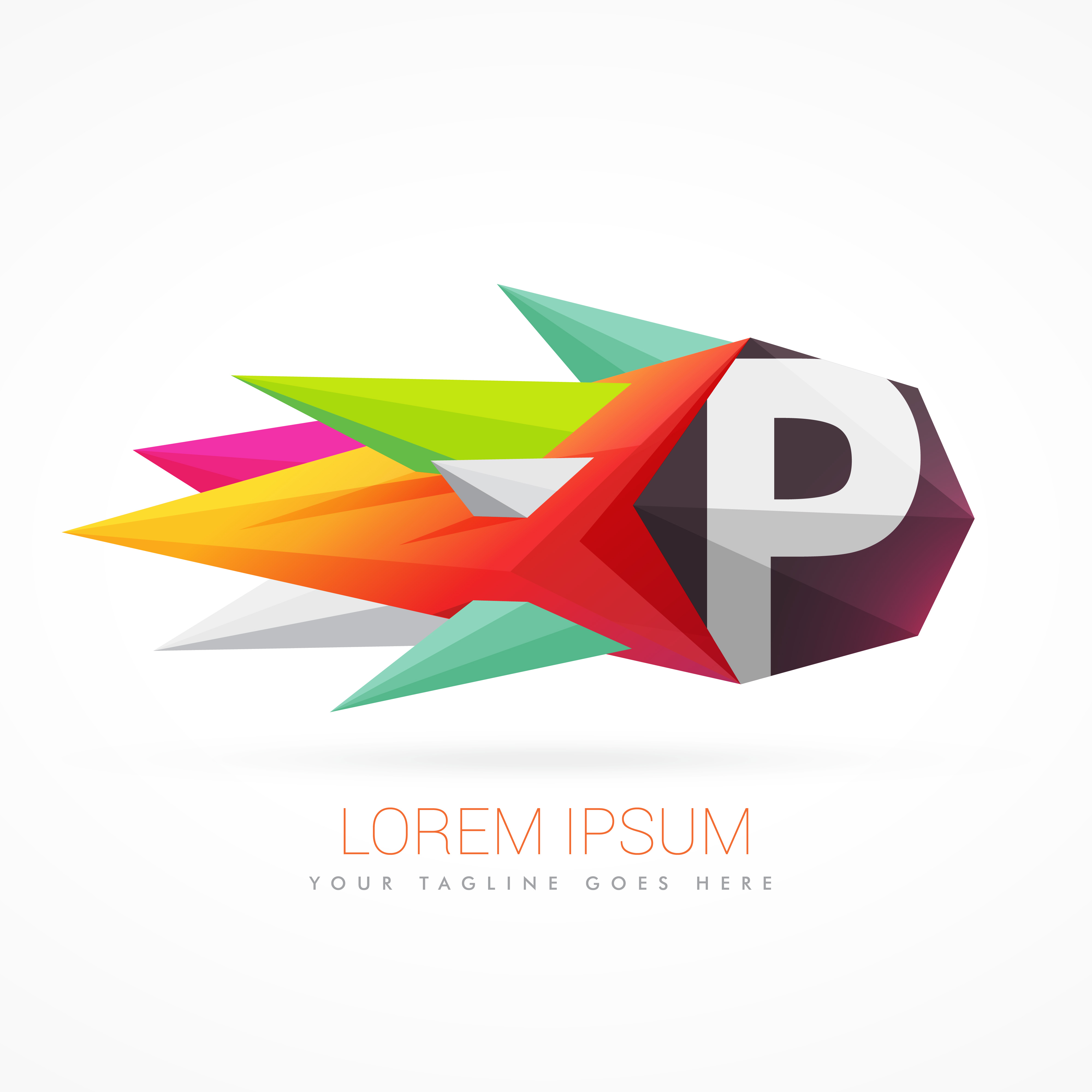 colorful abstract logo with letter p download free vector art stock graphics images
