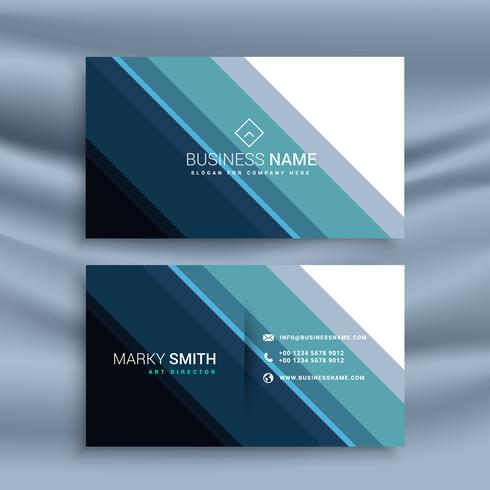 blue and white business card with diagonal stripes