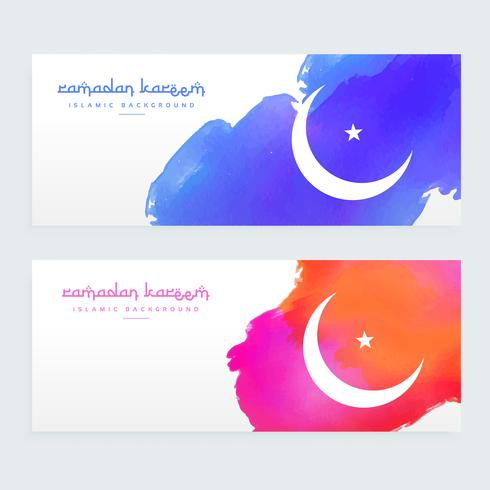 colorful paint style ramadan kareem banners