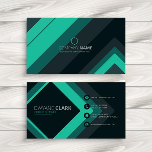 turquoise minimal business card vector design illustration