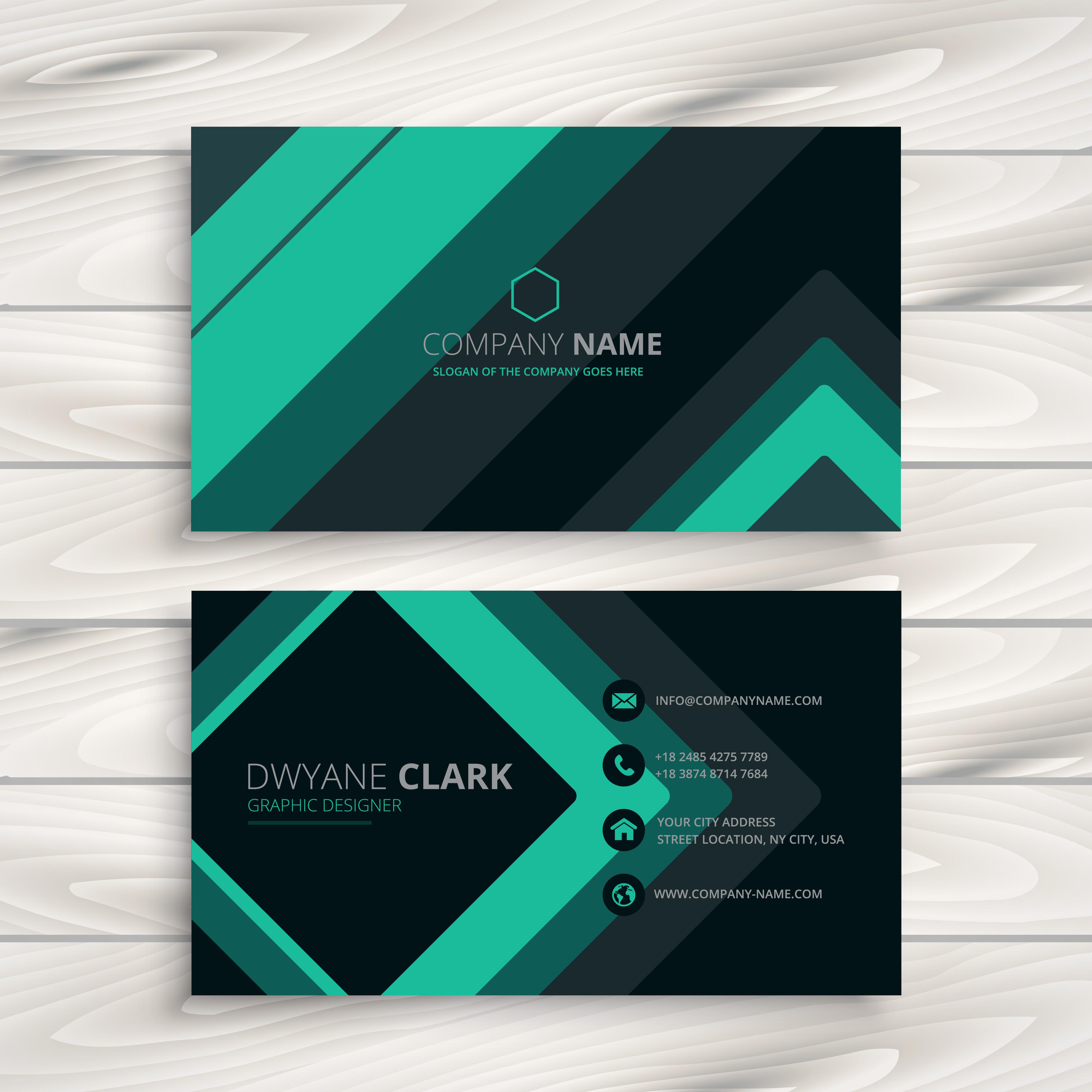 turquoise minimal business card vector design illustration ...