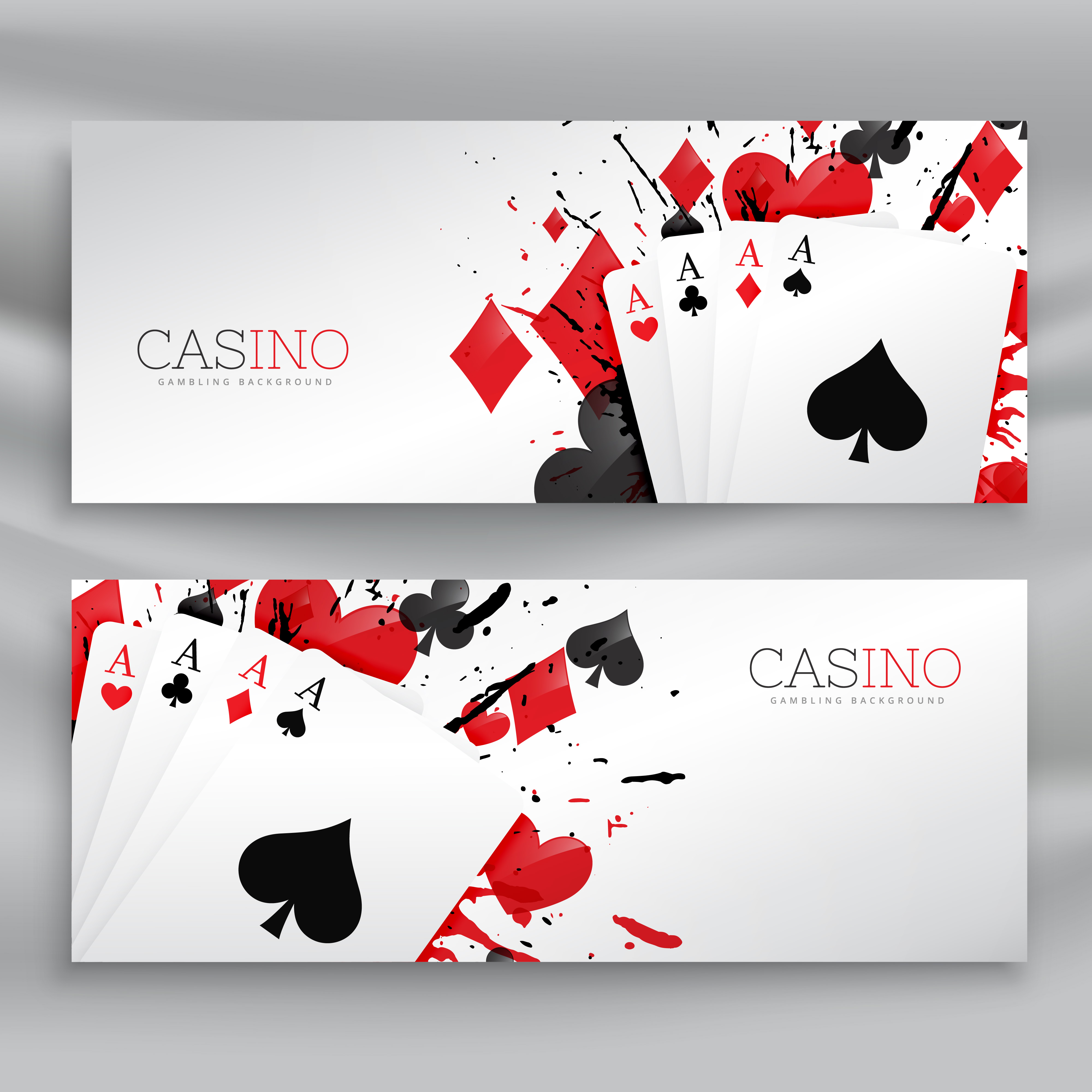 casino playing cards banners set background - Download
