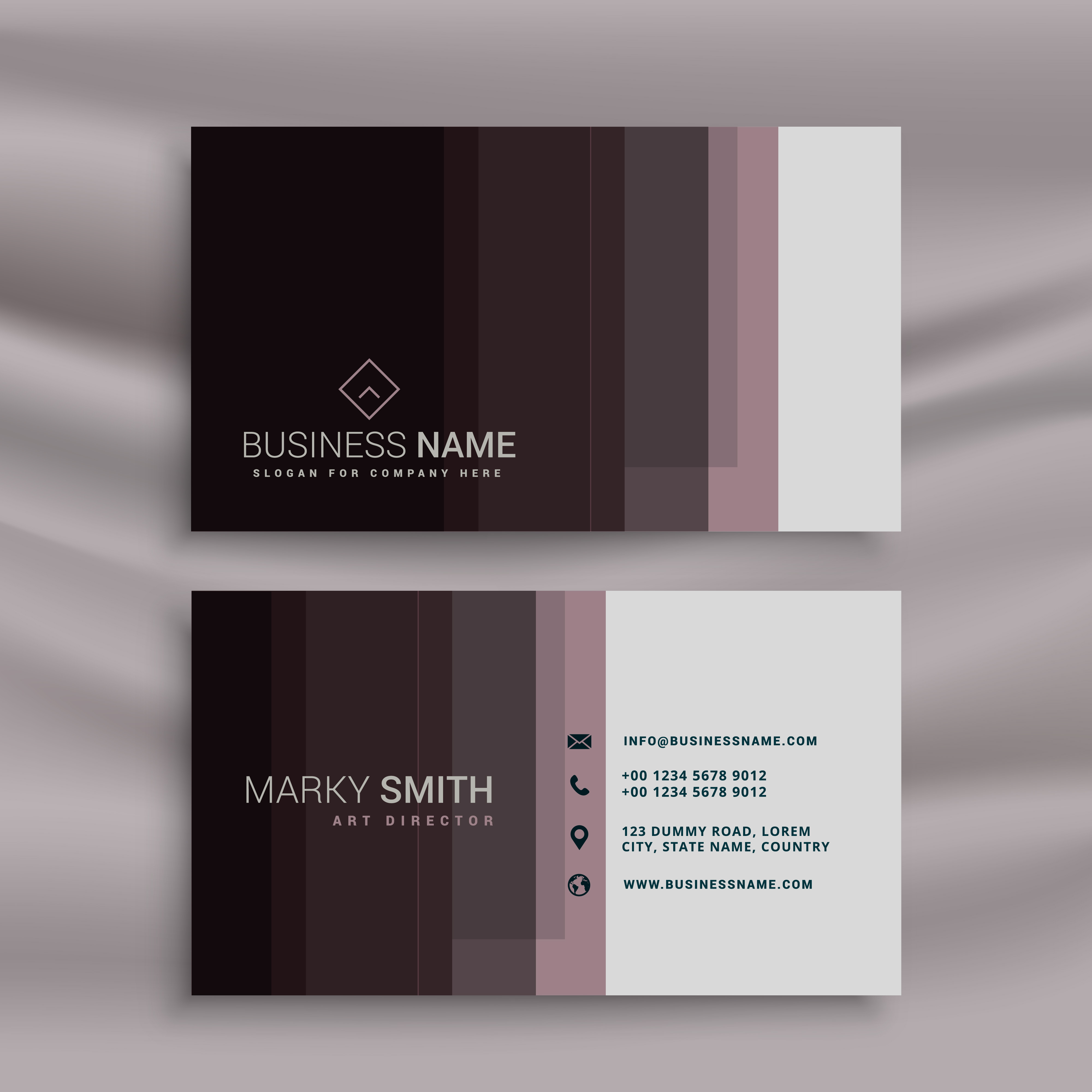 modern business card design template in dark style - Download Free ...