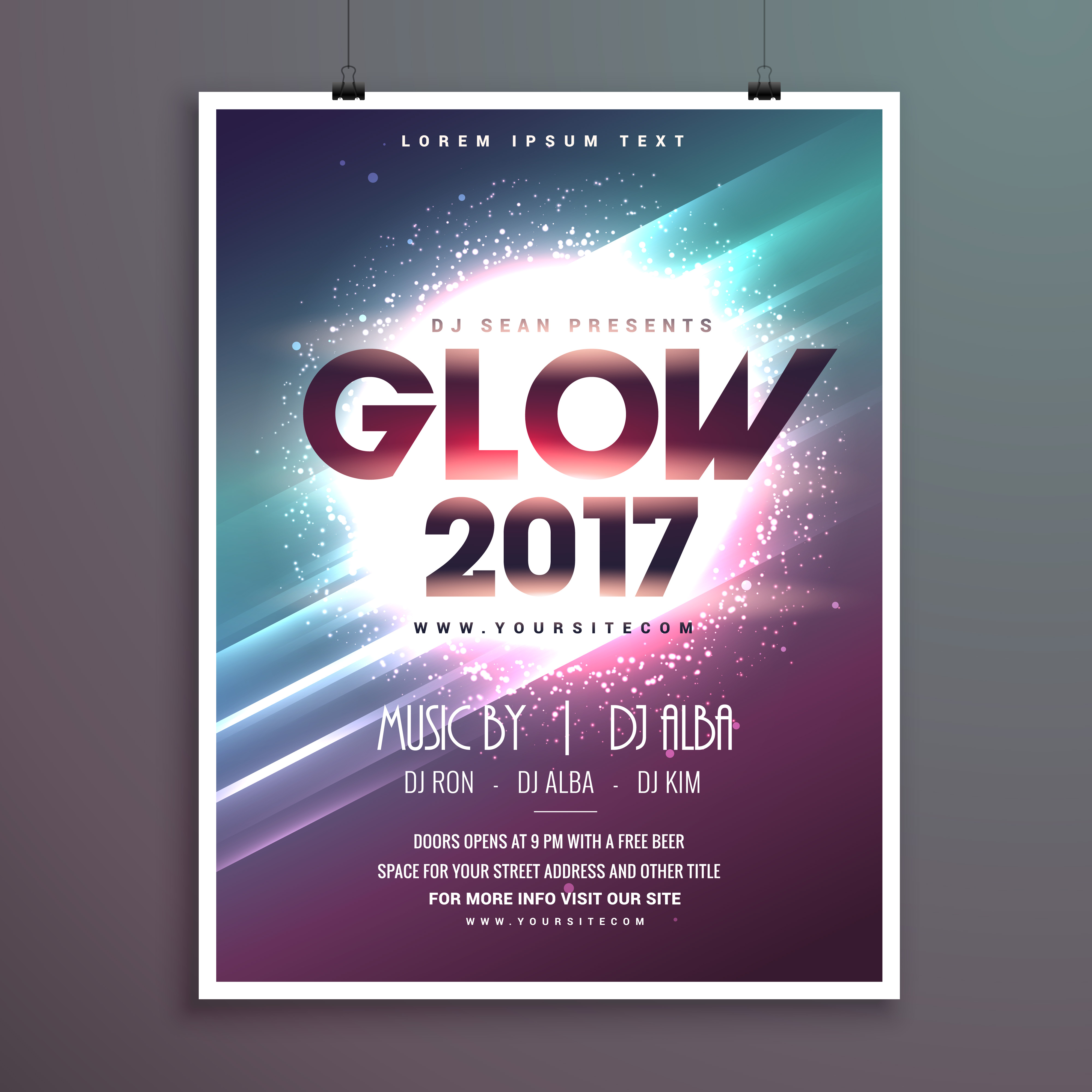 2017 new year party flyer brochure template with glowing
