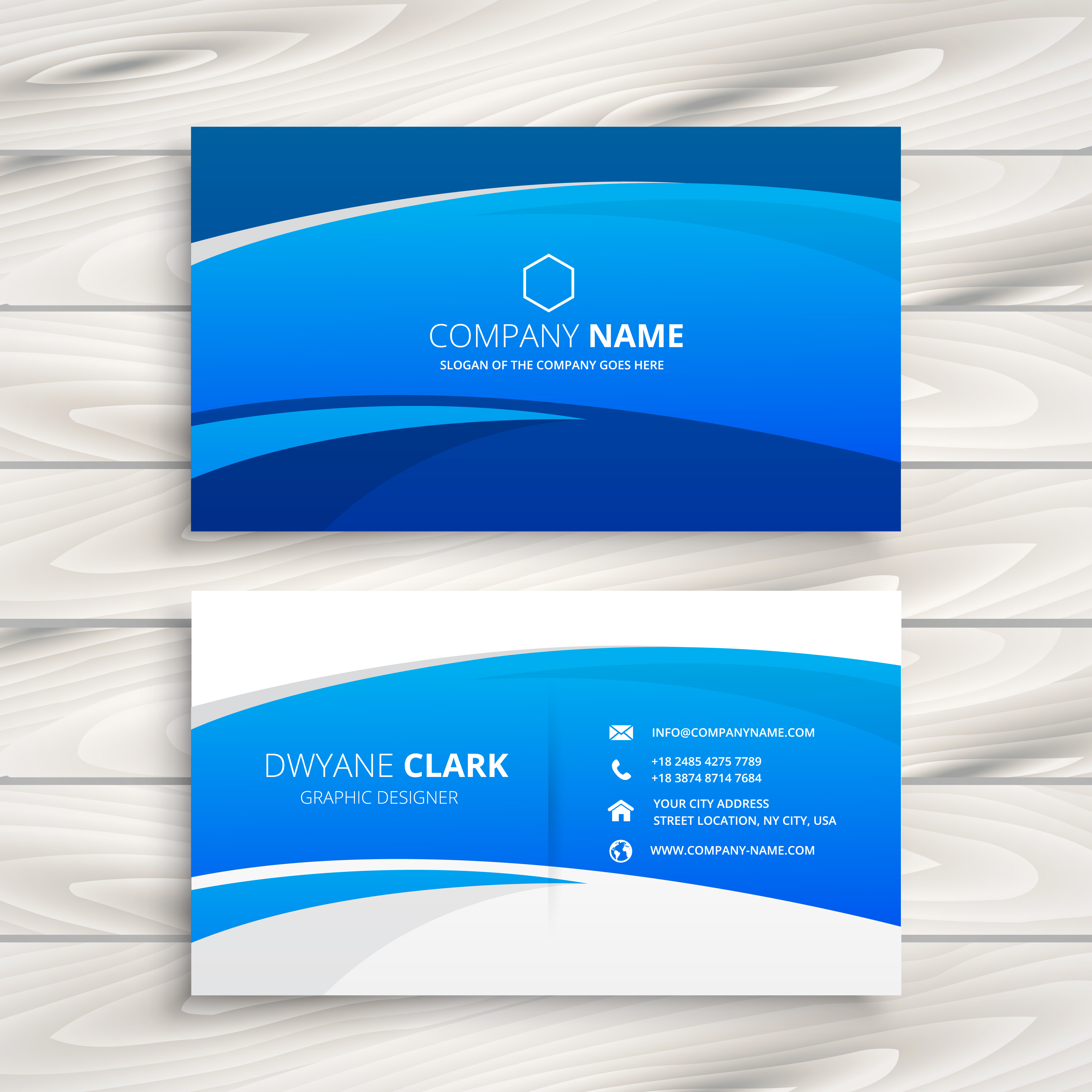 Blue Corporate Stationary Pack By Betty Design: Blue Wave Business Card Vector Design Illustration