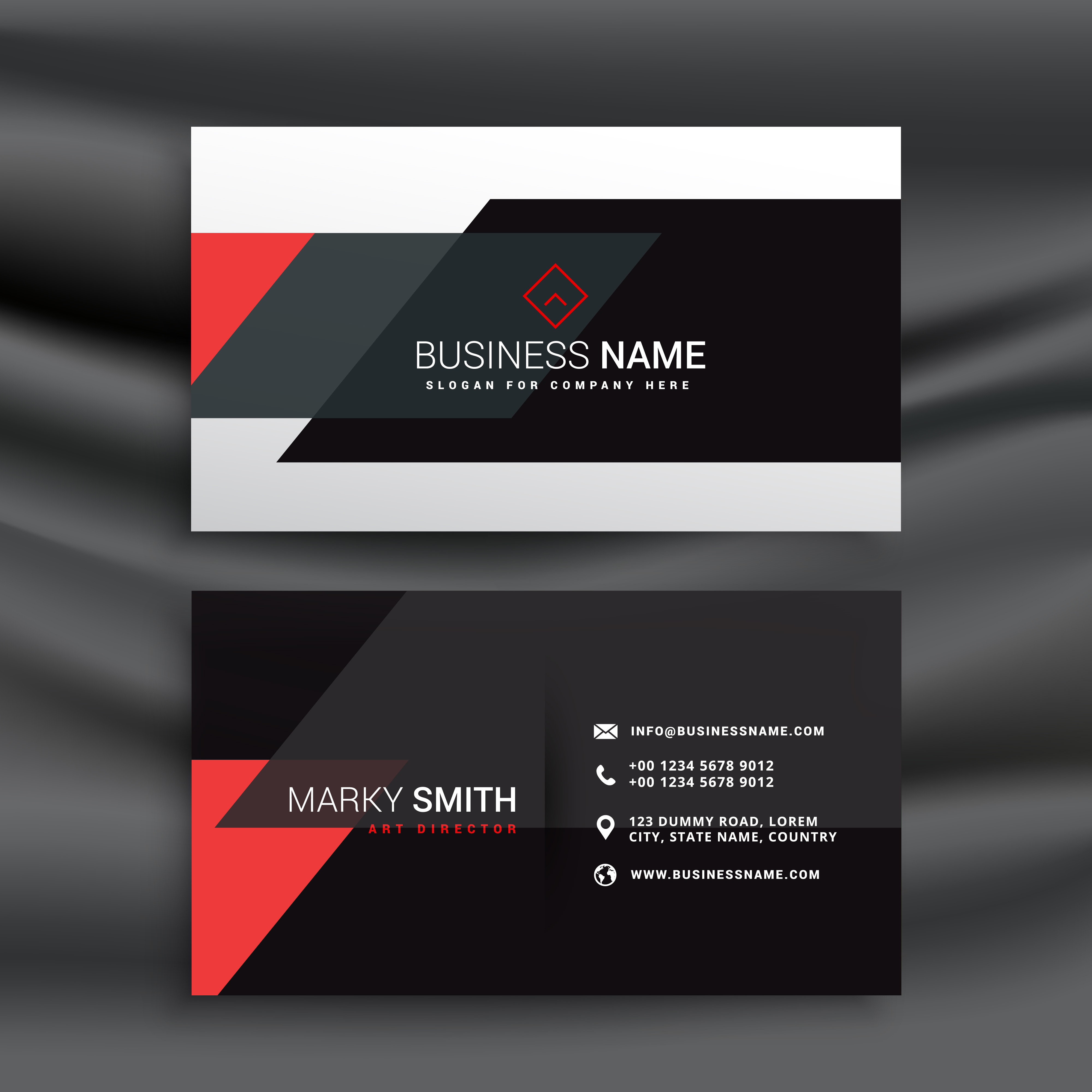 fantastic red and black business card vector design - Download Free ...