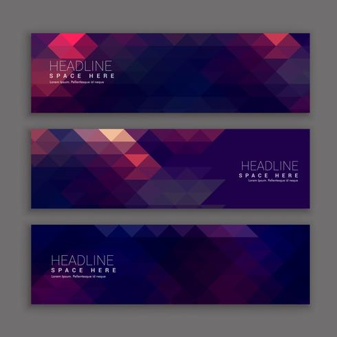 abstract purple shapes banners template