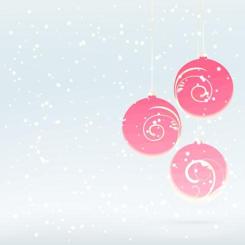 Schneefall mit Weihnachtskugeln