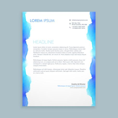 letterhead design with blue ink template vector design illustrat