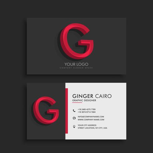 clean dark business card with letter G