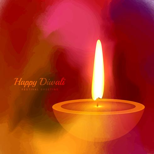 hindu festival diwali diya on colorful ink paint background