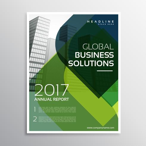 abstract green curve shape business brochure leaflet design in a