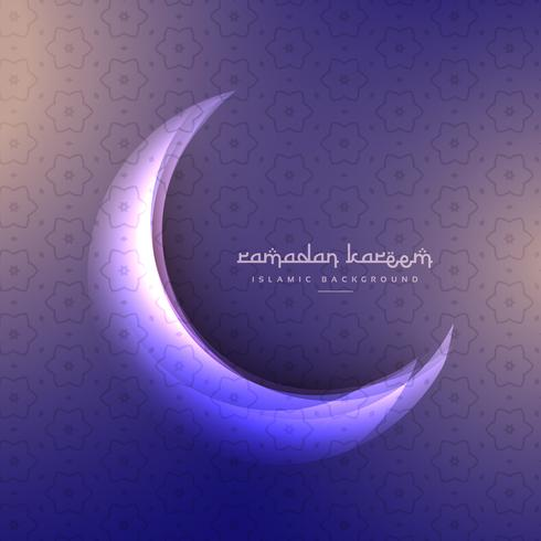 beautiful ramadan festival moon on purple background
